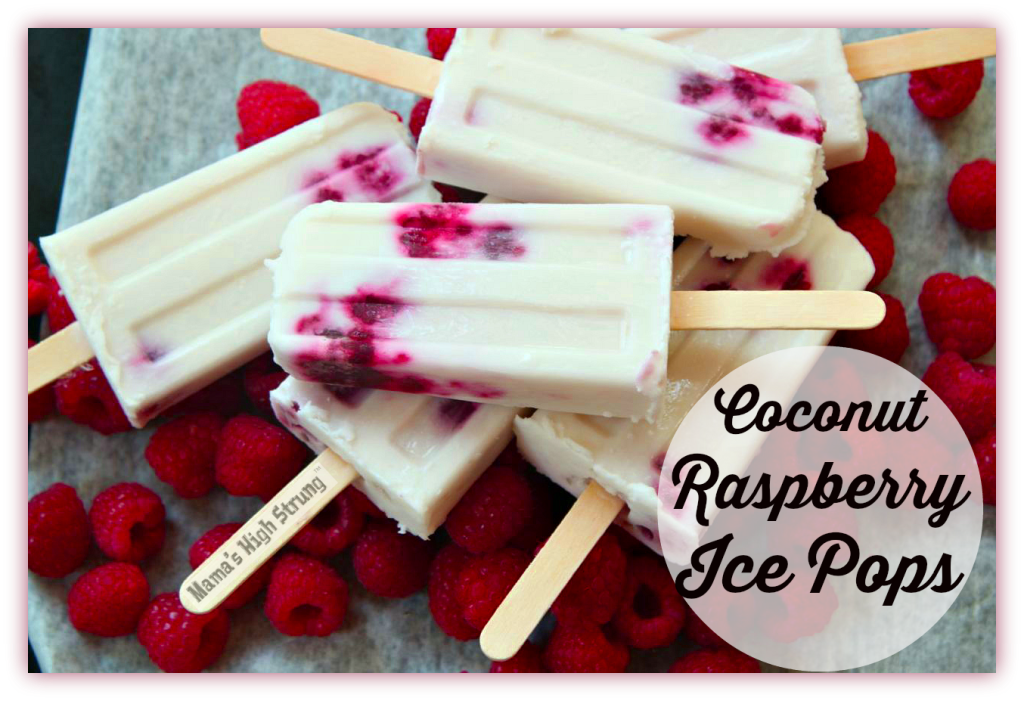Coconut Raspberry Ice Pops-Mama's High Strung