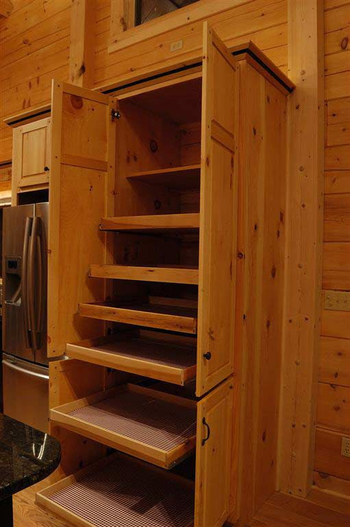 Solid Wood Pine Kitchen Cabinets: Pantry Cabinet Roll Outs