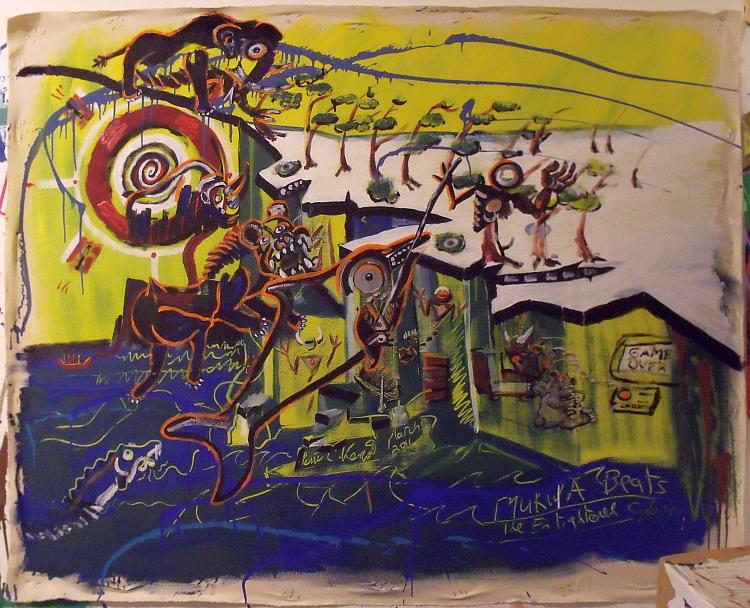 Yellow Cliffs. Acrylic on canvas; Broken Vulture Art, BingoRage Studio.