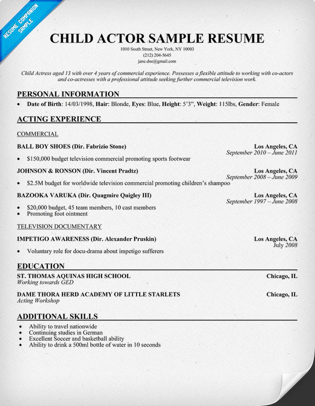 Actors Resume Example No Experience Best Resume Examples
