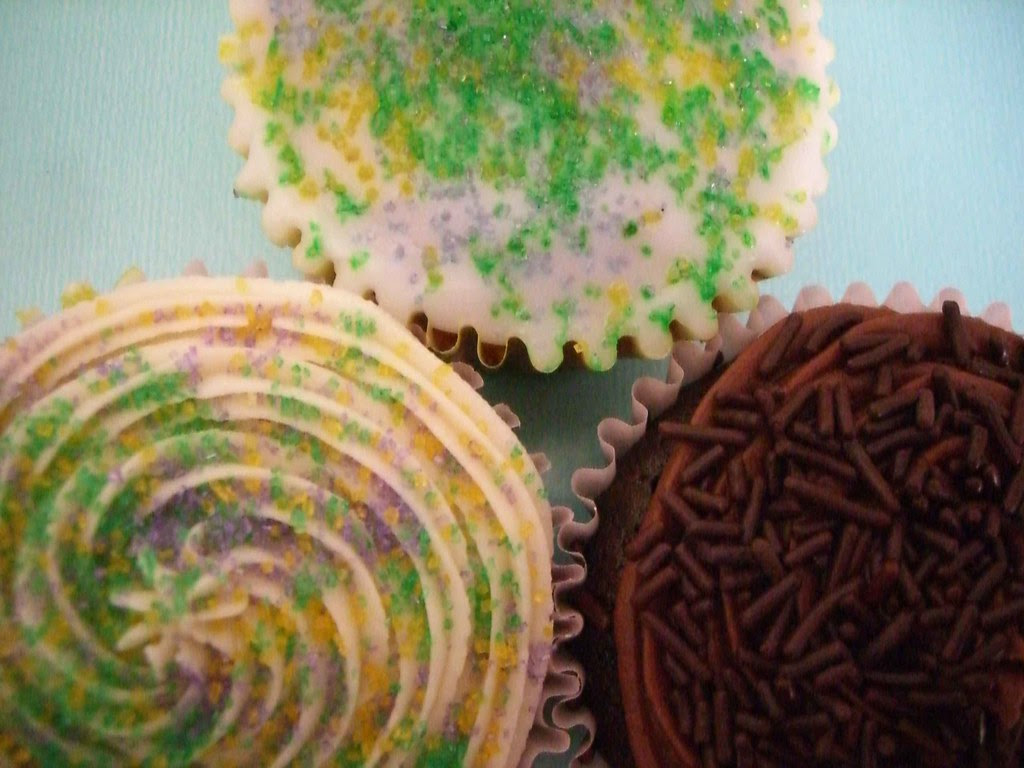 Mardi Gras cupcakes from Pralines by Jean, New Orleans