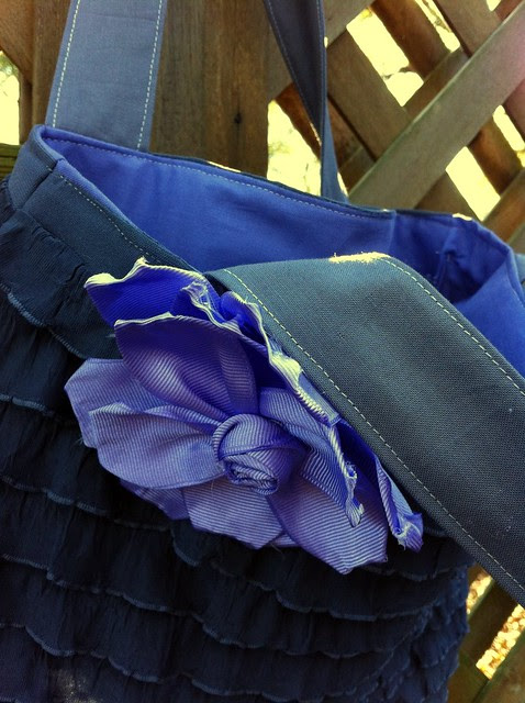Purple ruffle tote