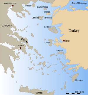 Contour map of the Aegean, with names