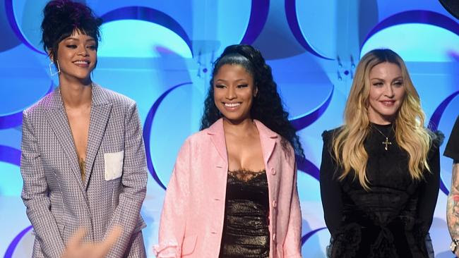 What do we do with our hands? Rihanna, Nicki Minaj, and Madonna stand woodenly onstage at