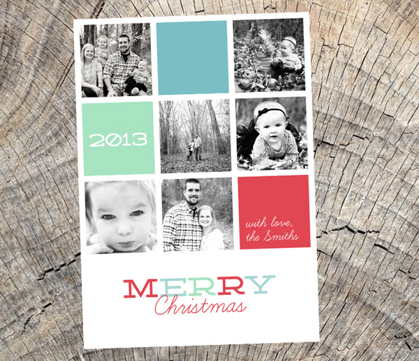 merry christmas - square grid photo card