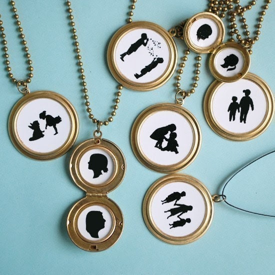 Custom Silhouette Locket Necklace - small