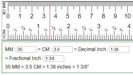 Cm one inch is Inches to