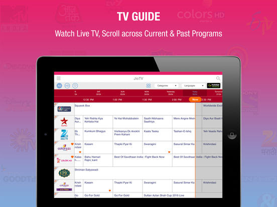 Jio TV iPad App Screenshots - TV Guide