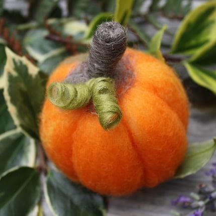 Handmade Prize Needle Felted Wool Soft Sculpture Pumpkin