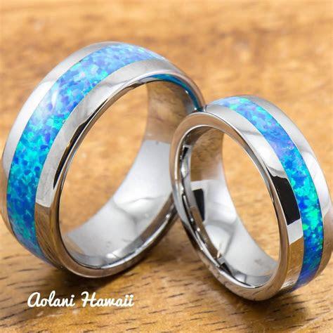 wedding band set  tungsten rings  opal inlay mm