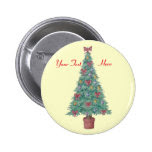 Christmas tree with decorations red bows holiday 2 inch round button