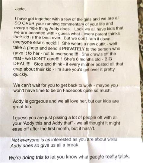 Mom gets nasty note from friends telling her to shut up