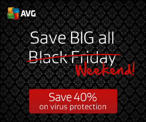 Save 40% right now: Get Black Friday Deal from AVG ALL WEEKEND LONG!