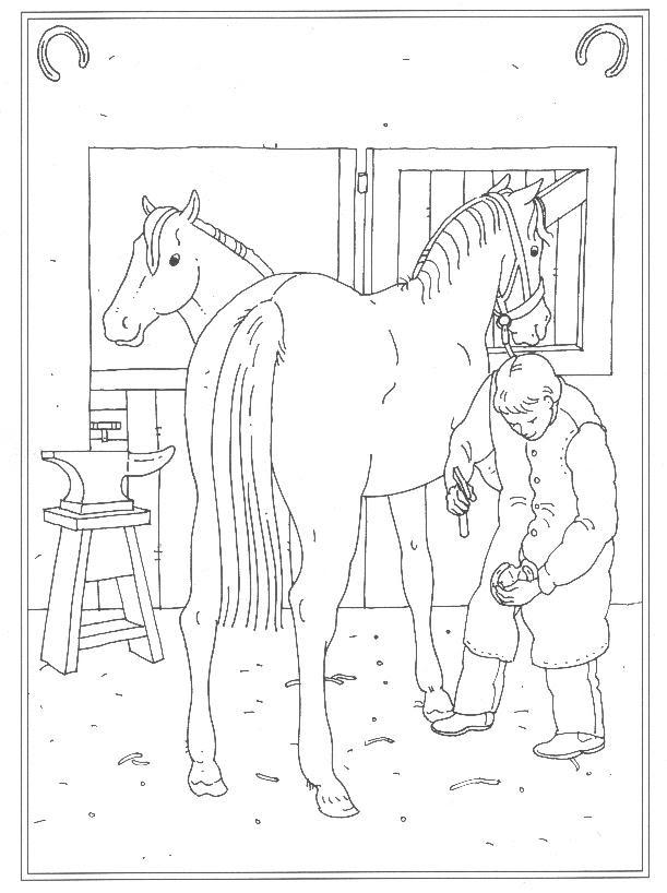 ausmalbilder pferde im stall