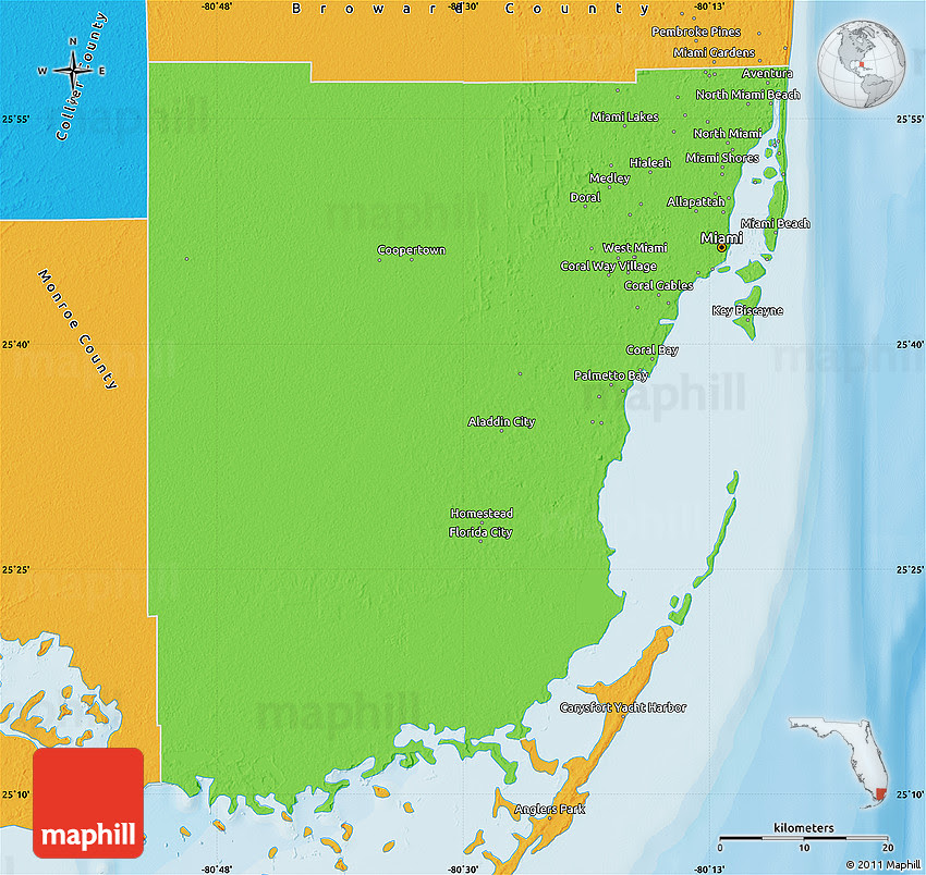 34 map of dade county florida - maps database source