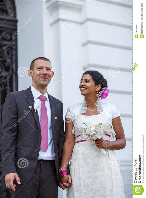 Beautiful Indian Bride And Caucasian Groom, After Wedding