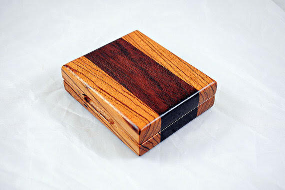 Zebrawood and Peruvian Walnut  Wooden Tuck Case