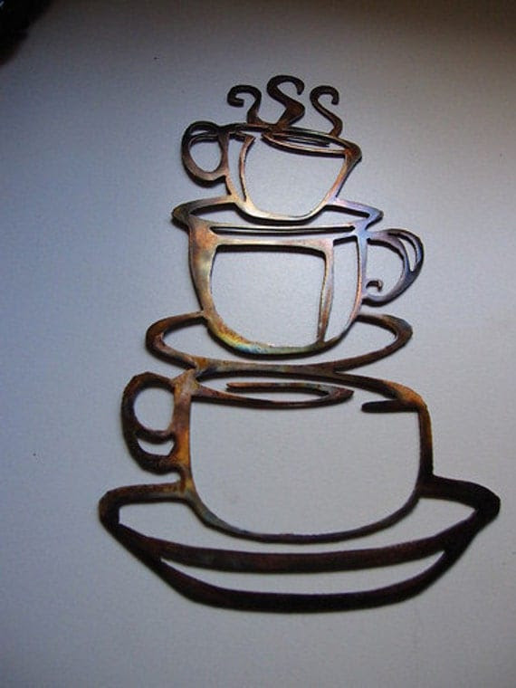 COFFEE CUPS Kitchen Home Decor Metal Wall by ...