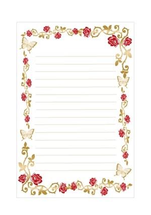 B5 サイズ 薔薇とチョウの便箋テンプレート 印刷して使える可愛い