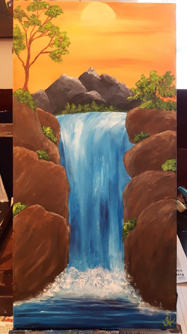 Landscape Painting Easy Waterfall Painting Inspired