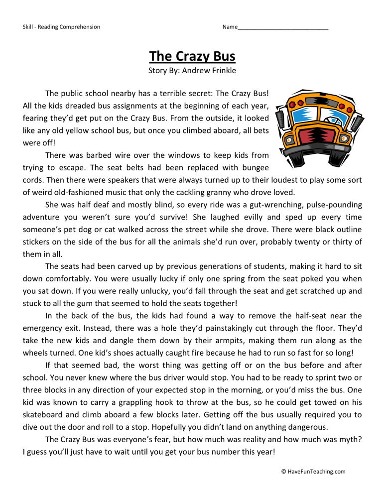 Reading Prehension Worksheet Crazy Bus