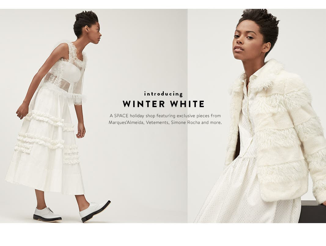 The SPACE winter-white holiday collection at Nordstrom.