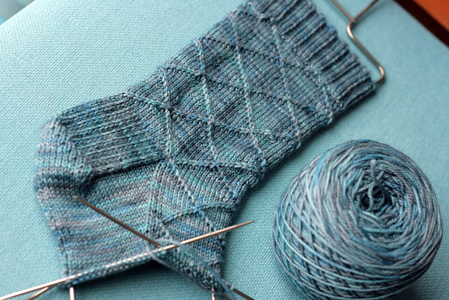 Preppy faux-argyle socks in progress.