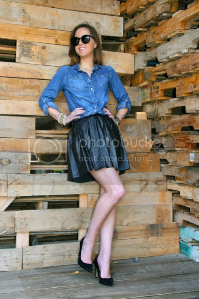 Denim Shirt and Pleated Leather Skirt