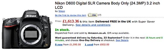 Nikon UK price drop Nikon D600 price drop in the UK, Germany