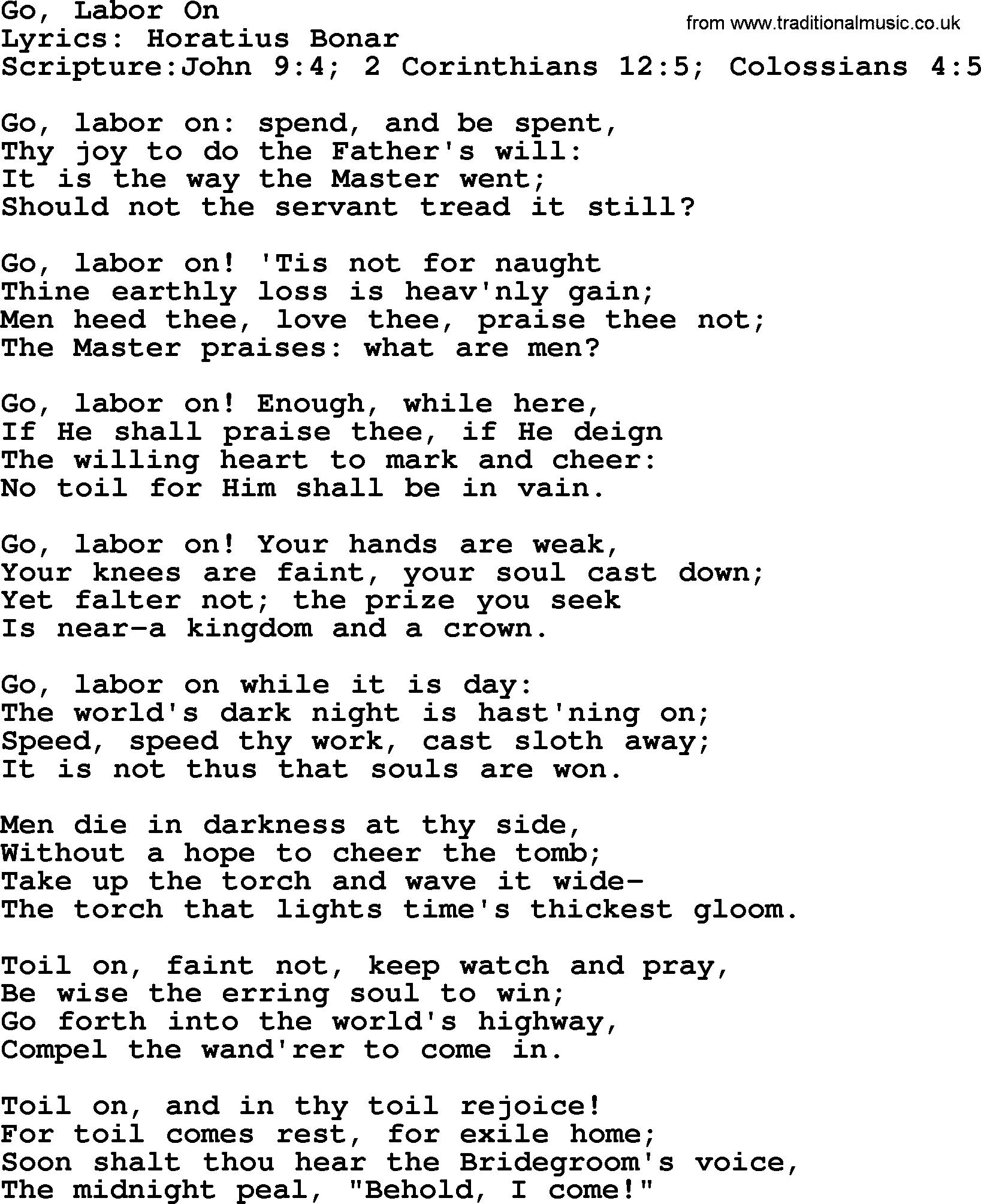 Good Old Hymns Go Labor On Lyrics Sheetmusic Midi Mp3 Audio And Pdf