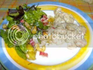 camarão e salada