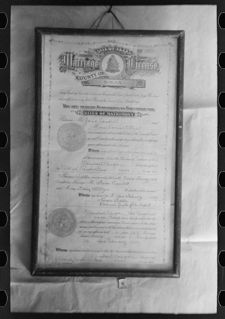 Marriage license of Faro and Doris Caudill. Notice that the license was issured in Nolan County, Texas. They came directly to Pie Town to homestead after the marriage in February of 1933. Pie Town, New Mexico