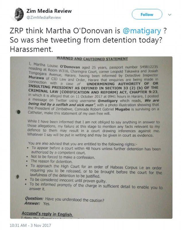 Local media shared a photograph of O'Donovan's arrest warrant. It claims that on October 11, she tweeted: 'We are being led by a selfish and sick man'