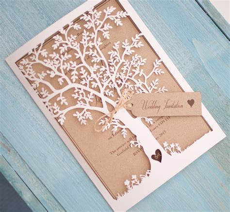 Vintage Style Lasercut Black Tree Invitation   Vintage