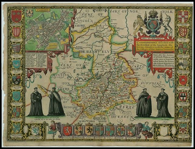 Cambridgeshire - elaborate John Speed proof map