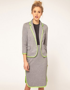 ASOS Heather Grey Suit with Fluro Trim