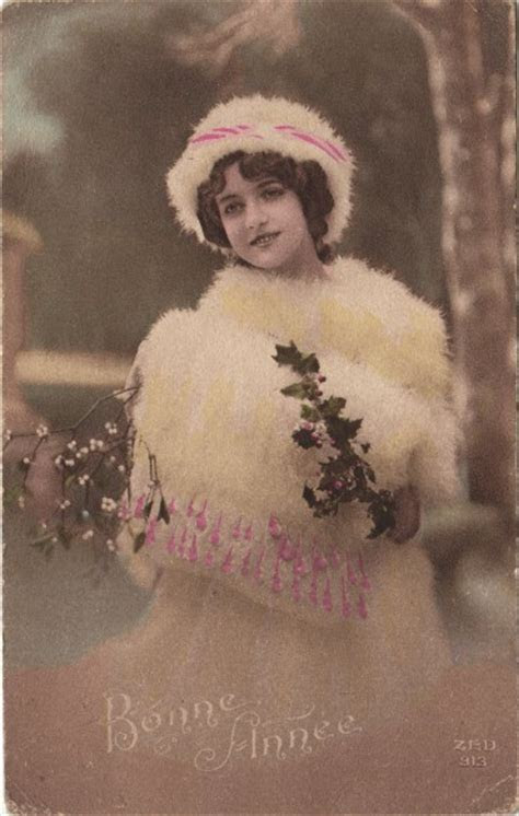 Vintage French Postcard   Snow Girl   The Graphics Fairy