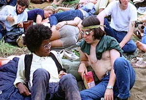 Two hippies at the Woodstock Festival