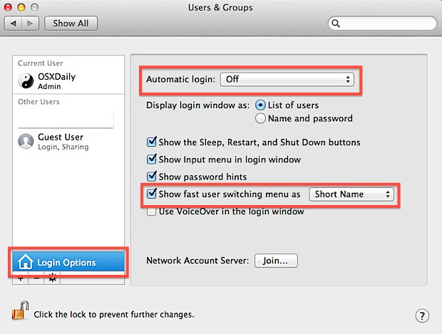 Enable Fast User Switching