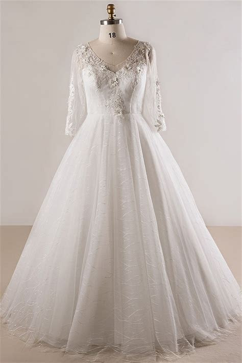 Ball Gown V Neck Long Sleeve Plus Size Lace Wedding Dress