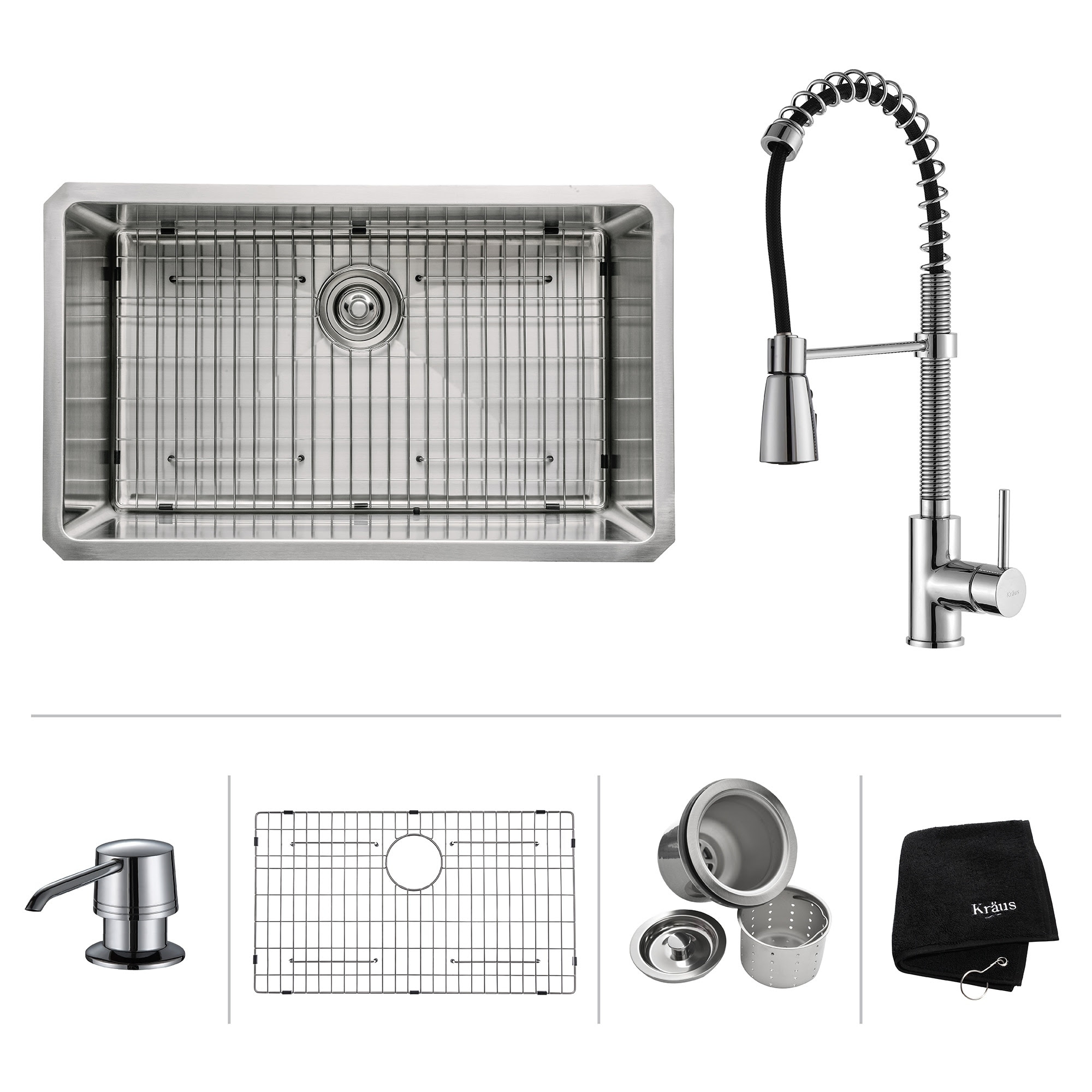 Kraus Kitchen Combo Set Stainless Steel 30 Inch Undermount Sink With