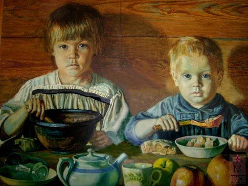 Крестьянские дети.(Нюра и Паша, племянники художника). Масло, холст на картоне. середина 20х гг.