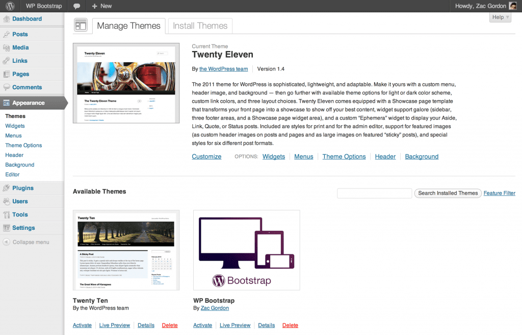 Screenshot showing the WP Bootstrap theme listed on the Themes page