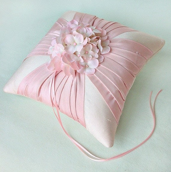 Pink Silk Sash Hydrangea Ring Bearer Pillow