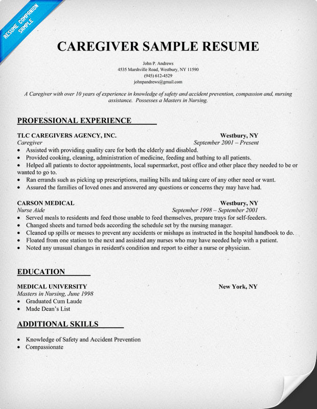 caregiver resume example