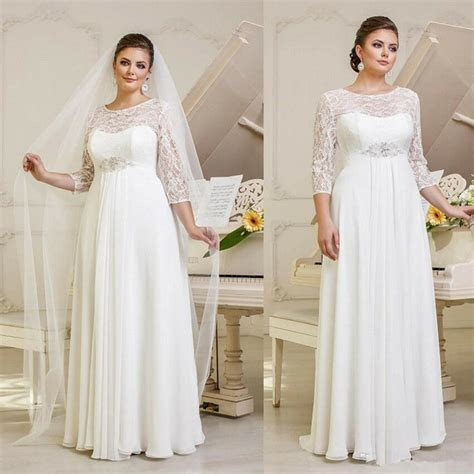 Plus size White Sheer Sleeve Wedding Dresses Lace.Chiffon