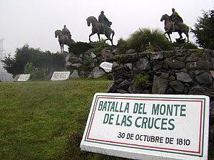 Monumento en el Monte de las Cruces en honor a los cabecillas de la batalla. De izquierda a derecha: Ignacio Allende, Miguel Hidalgo y Mariano Jiménez.