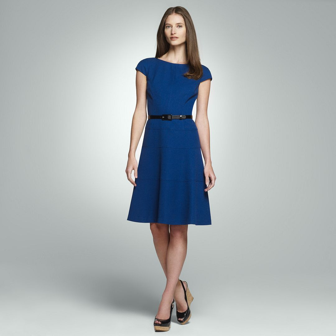 Jones New York Belted Cap Sleeve Dress