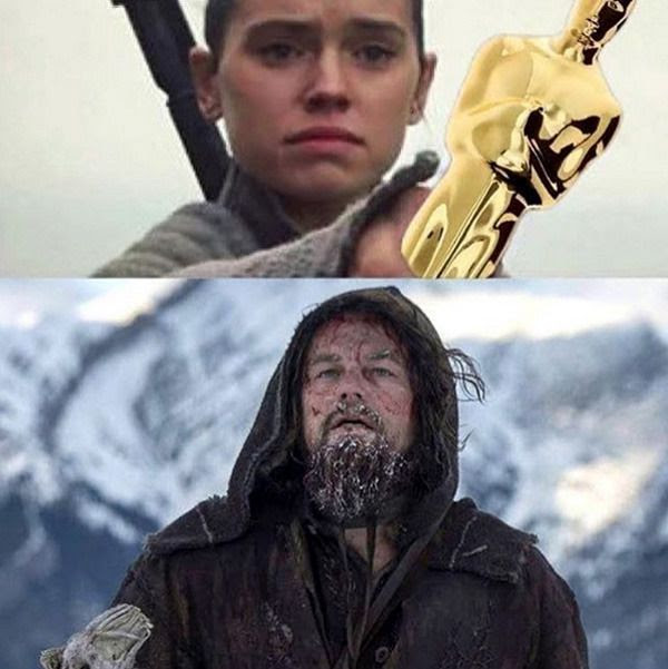 Needless to say, Leonardo DiCaprio was much happier to be offered a trophy for his role in THE REVENANT than Luke Skywalker was for being offered his old lightsaber in STAR WARS: THE FORCE AWAKENS.