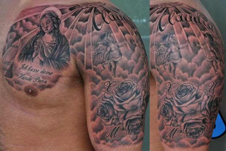 Man Chest And Half Sleeve Christian Tattoo